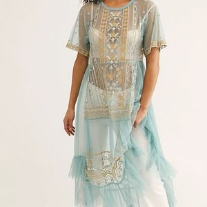 ISO Sabrina Embroidered Tulle Sheer Maxi Top